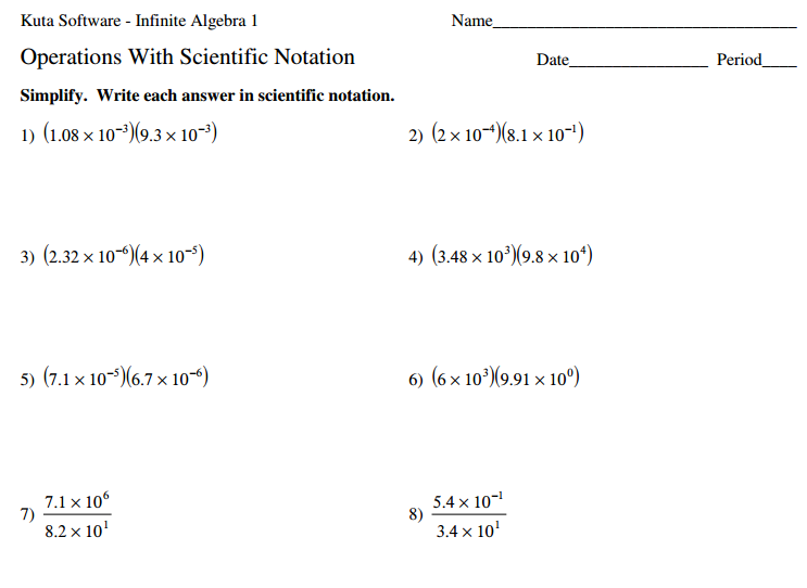 8.EE.4 Operations with Scientific Notation - Strickler WMS - 8th ...Worksheet - Scientific Notation