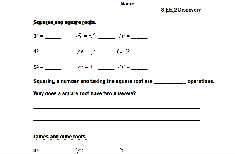 8EE2 Square and Cube Root Solutions Strickler WMS 8th Grade Math – Square Root and Cube Root Worksheet