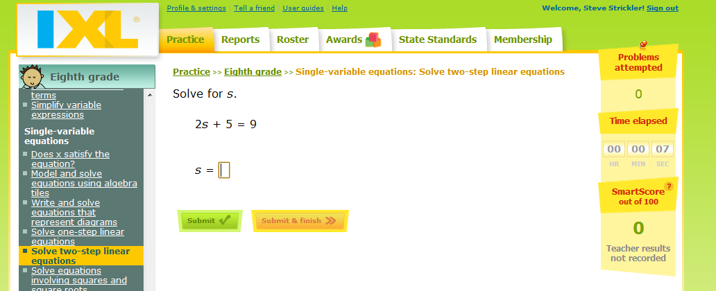 IXL - Single variable equations: Solve two-step linear equations