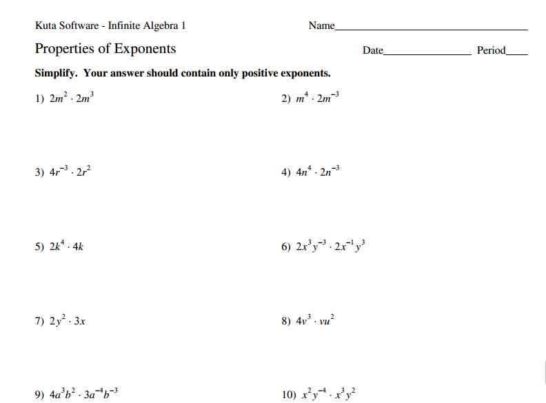 Exponents 8EE1 8EE2 Strickler WMS 8th Grade Math – Exponential Expressions Worksheet