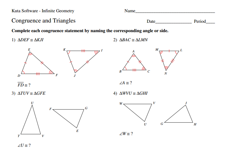 Printables Congruent Angles Worksheet triangle congruence worksheets davezan congruent angles worksheet irade co
